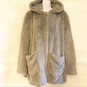 KENNETH COLE-Fluffy Faux Fur Coat w/Hood-Grey-Sz L